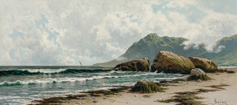 """ALFRED THOMPSON BRICHER, American (1837-1908), """"Low Tide, Grand Manan Island"""", oil on canvas, signed and inscribed lower right """"AT B..."""