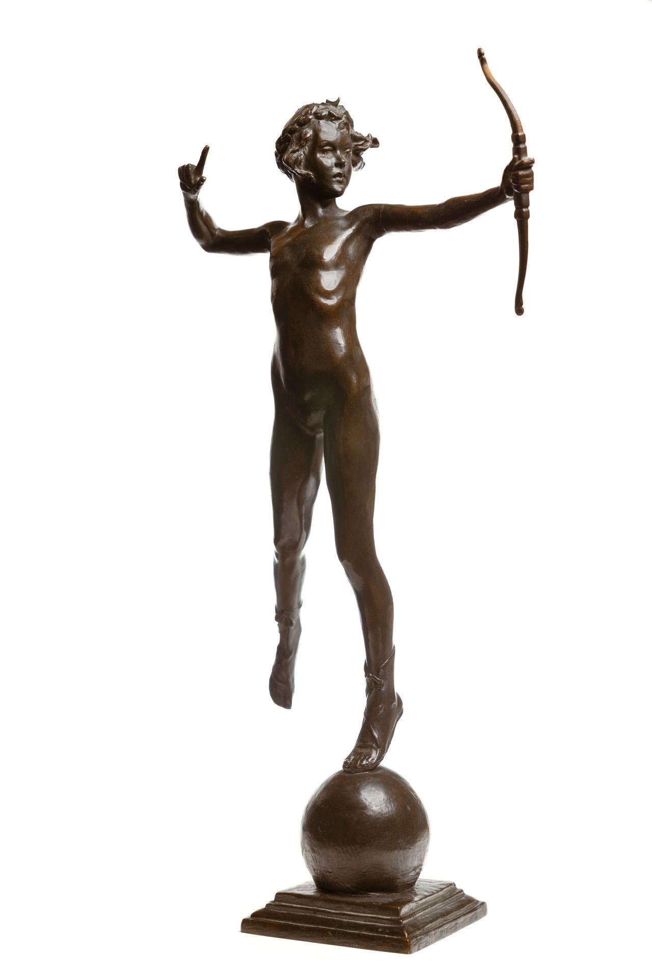 """JANET SCUDDER, American (1873-1940), Young Diana, bronze, signed and stamped with foundry mark """"Alexis Rudier Foundeur Paris"""", heigh..."""