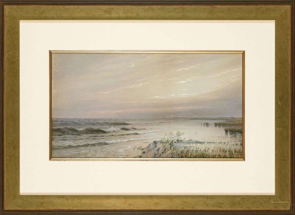 "WILLIAM TROST RICHARDS, American (1833-1905), South Jersey Coastal Scene, watercolor, signed and dated lower left center ""Wm. T. Ric..."