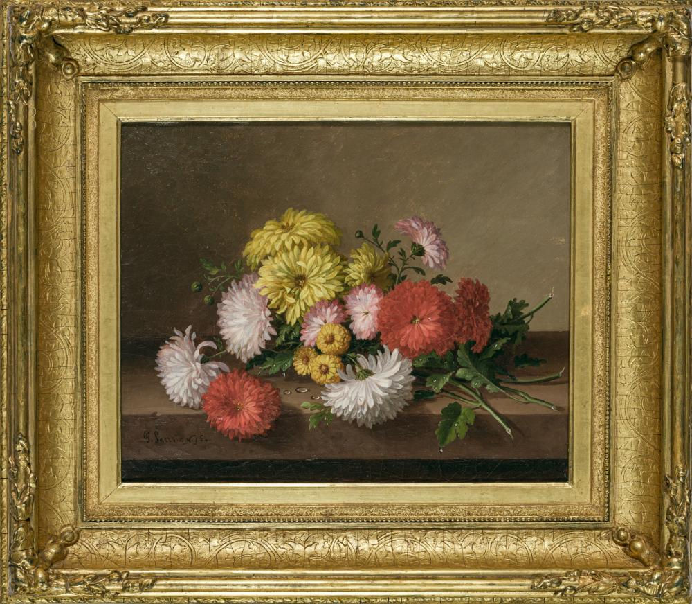 """PAUL LACROIX, American (1827-1869), Still Life with Chrysanthemums, oil on canvas, signed dated and inscribed lower left """"P. Lacroix..."""