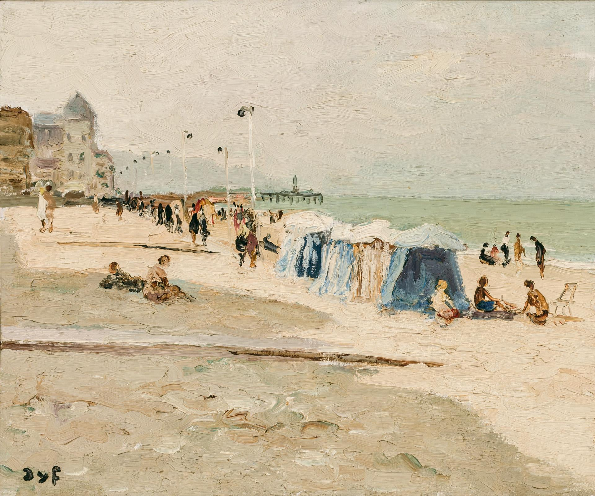 """MARCEL DYF, French (1899-1985), """"Plage de Trouville"""", oil on canvas, signed lower left """"Dyf"""", 18 x 21 1/2 inches"""