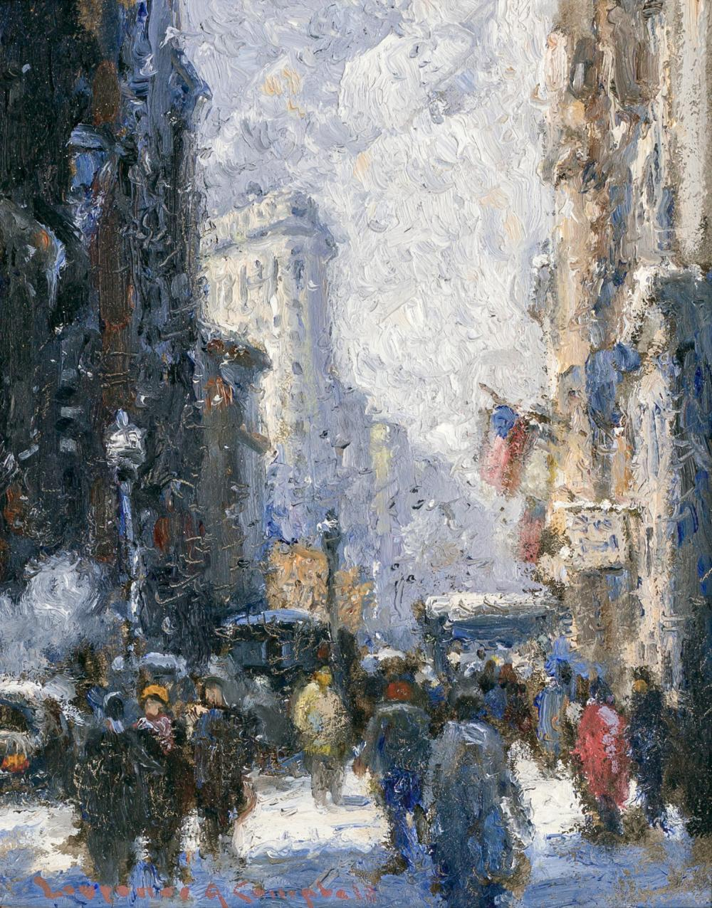 """LAURENCE A. CAMPBELL, American (b. 1939), """"5th Avenue, New York City"""", oil on board, signed lower left """"Laurence A. Campbell,"""" signe..."""