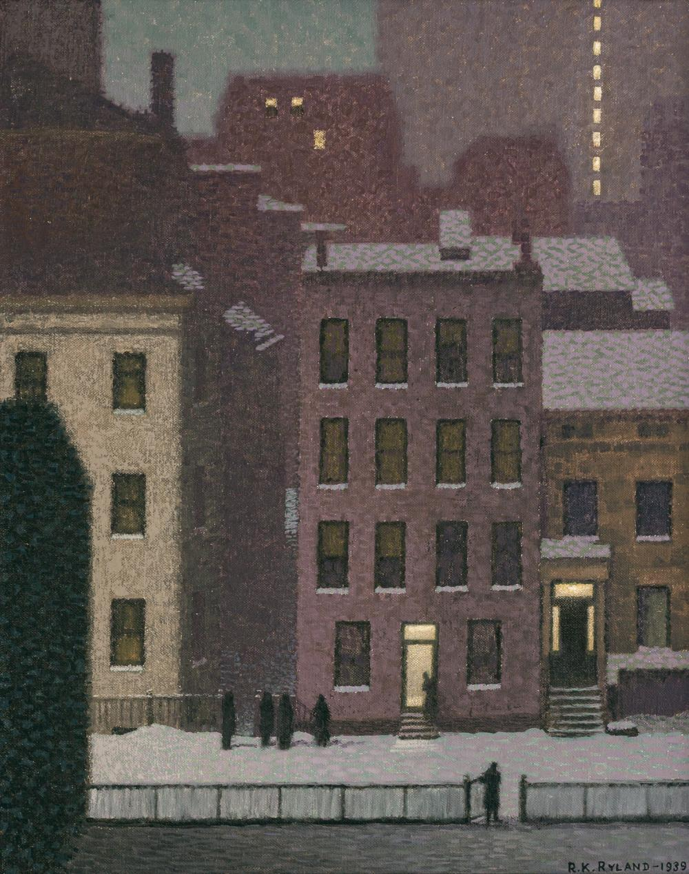 """ROBERT KNIGHT RYLAND, American (1873-1951), Brownstones in the Evening, oil on canvas, signed and dated lower right """"R.K. Ryland 193..."""