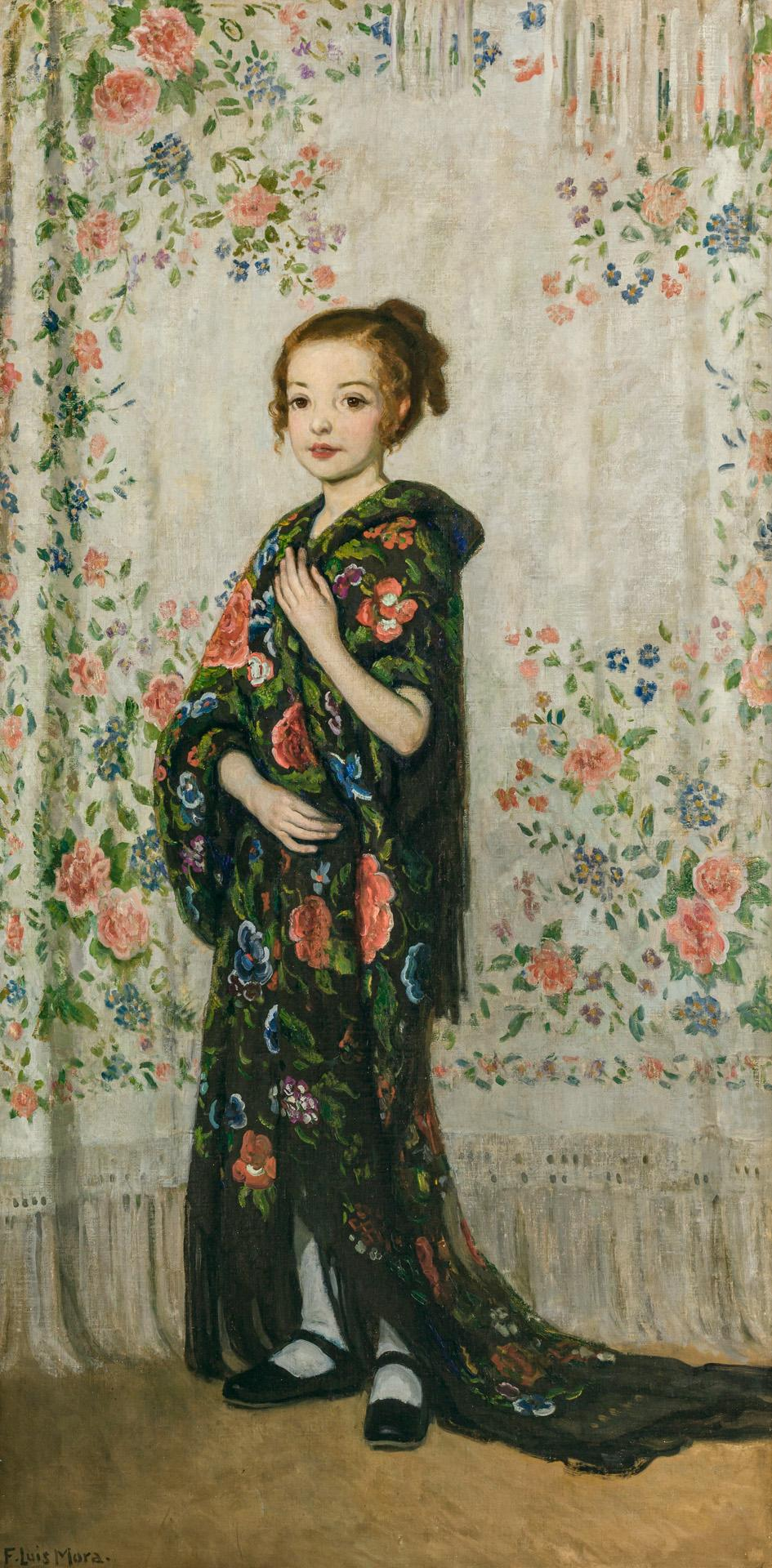 """FRANCIS LUIS MORA, American (1874-1940), """"Spanish Shawls"""" (Rosemary), oil on canvas, signed lower left """"F. Luis Mora,"""" titled on the..."""