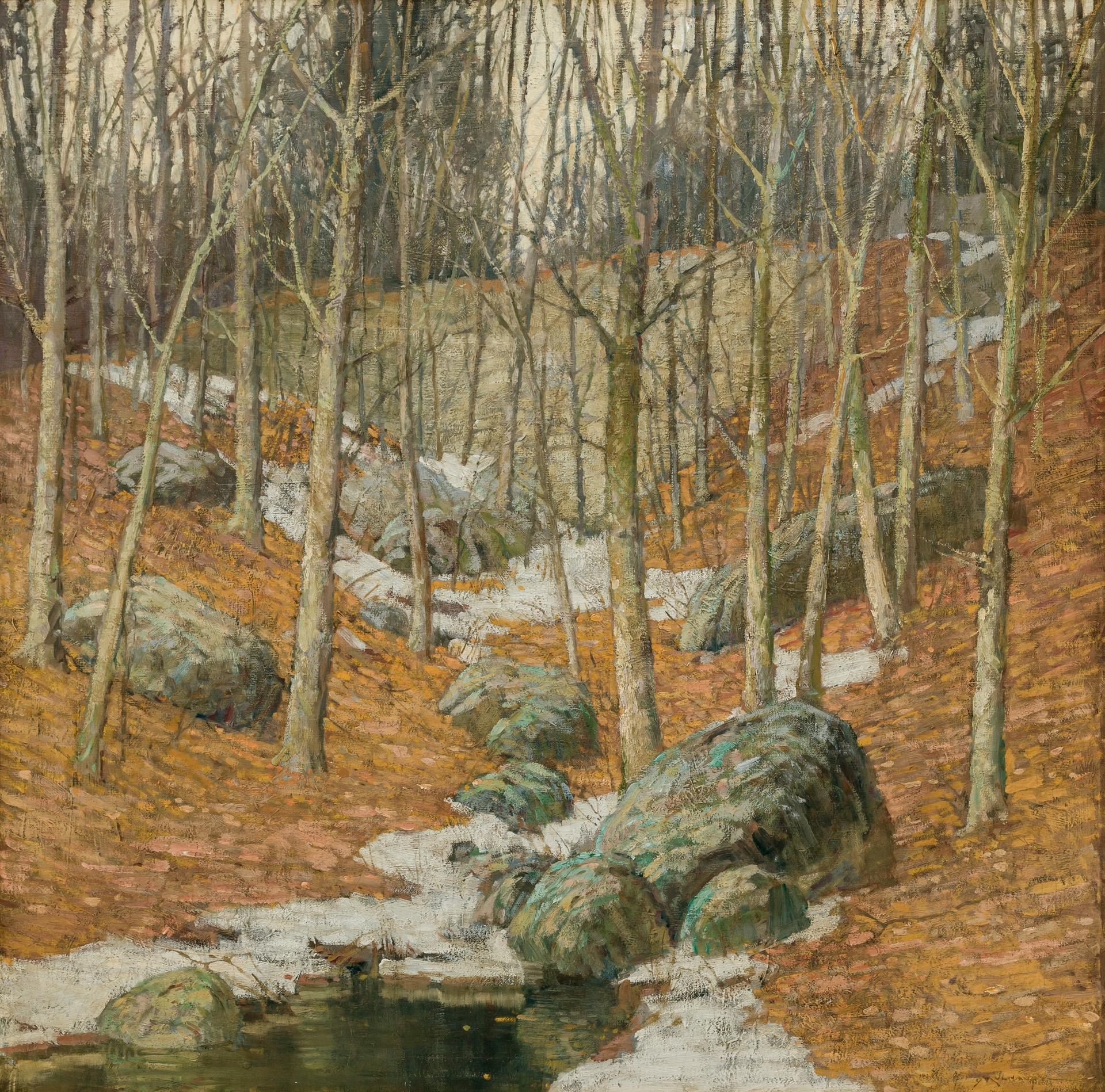 """FREDERICK J. MULHAUPT, American (1871-1938), Winter Near Gloucester, Massachusetts, oil on canvas, signed lower right """"Mulhaupt"""", 36..."""