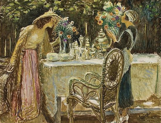 LAJOS MARK Hungarian/American (1867-1942) Tea In the Garden oil on canvas, signed lower right.