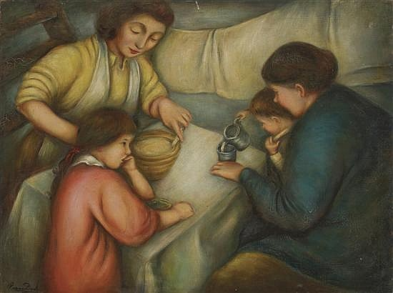 PEGGY DODDS Ameircan (1900-1987) A Family at a Table oil on canvas, signed lower left.