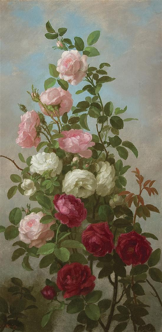 ANNA ELIZA HARDY American (1839-1934) Wild Roses oil on canvas, signed lower left.