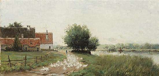 DAVID WALKLEY American (1849-1934) Geese on a French Farm oil on canvas, signed lower right.