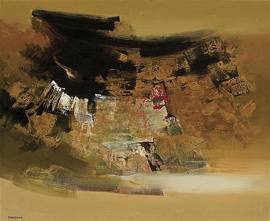 TIKASHI FUKUSHIMA Japanese (1920-2001) Abstraction oil on canvas, signed lower left, and signed on the reverse.