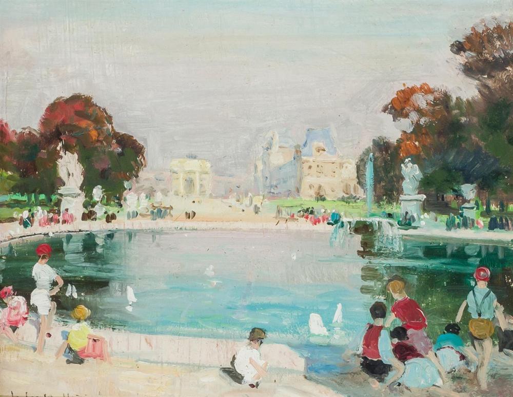 "JULES RENE HERVE, French (1887-1981), Le Jardin des Tuileries, oil on board, signed lower left ""Jules R. Herve,"" signed on the rever..."