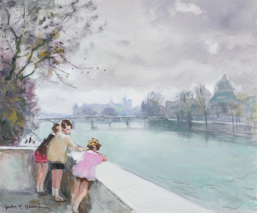 """JULES RENE HERVE, French (1887-1981), Enfants sur la Seine, oil canvas, signed lower left """"Jules R. Herve"""", signed on the reverse, 1..."""