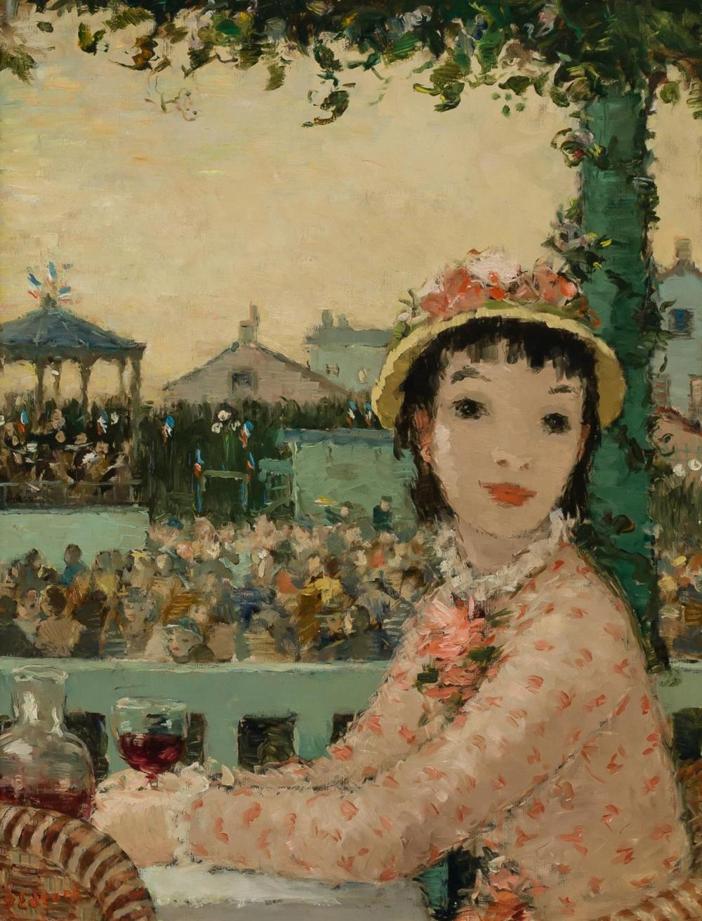 """DIETZ EDZARD, German (1893-1963), Femme a la de Course de Cheveaux, oil on canvas, signed lower left """"D. Edzard"""", 25 1/2 x19 3/4 inc..."""