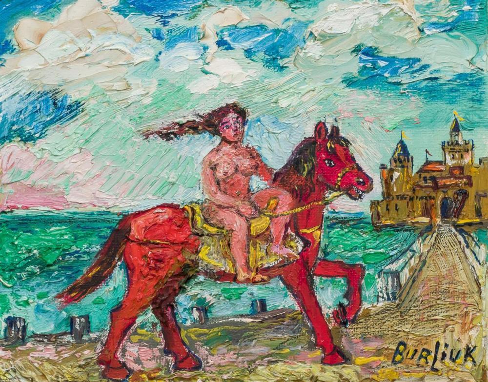 "DAVID BURLIUK, American/Russian (1882-1967), Lady Godiva, oil on board, signed lower right ""Burliuk, 8 x 10 inches"