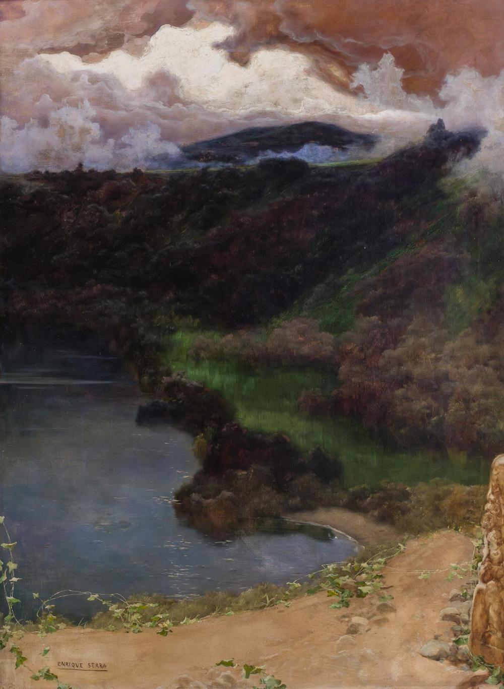 """ENRIQUE SERRA Y AUQUE, Spanish (1859-1918), Landscape, oil on canvas, signed lower left """"Enrique Serra"""", 37 3/4 x 27 3/4 inches"""