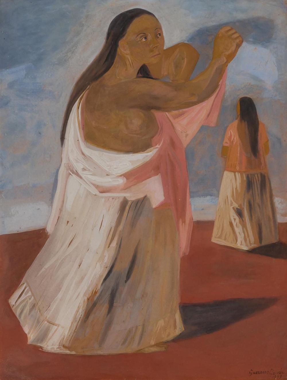 """JESUS GUERRERO GALVAN, Mexican (1910-1973), Two Women, gouache on paper, signed lower right """"Guerrero Galvan 1949"""", 21 1/4 x 16 1/2..."""