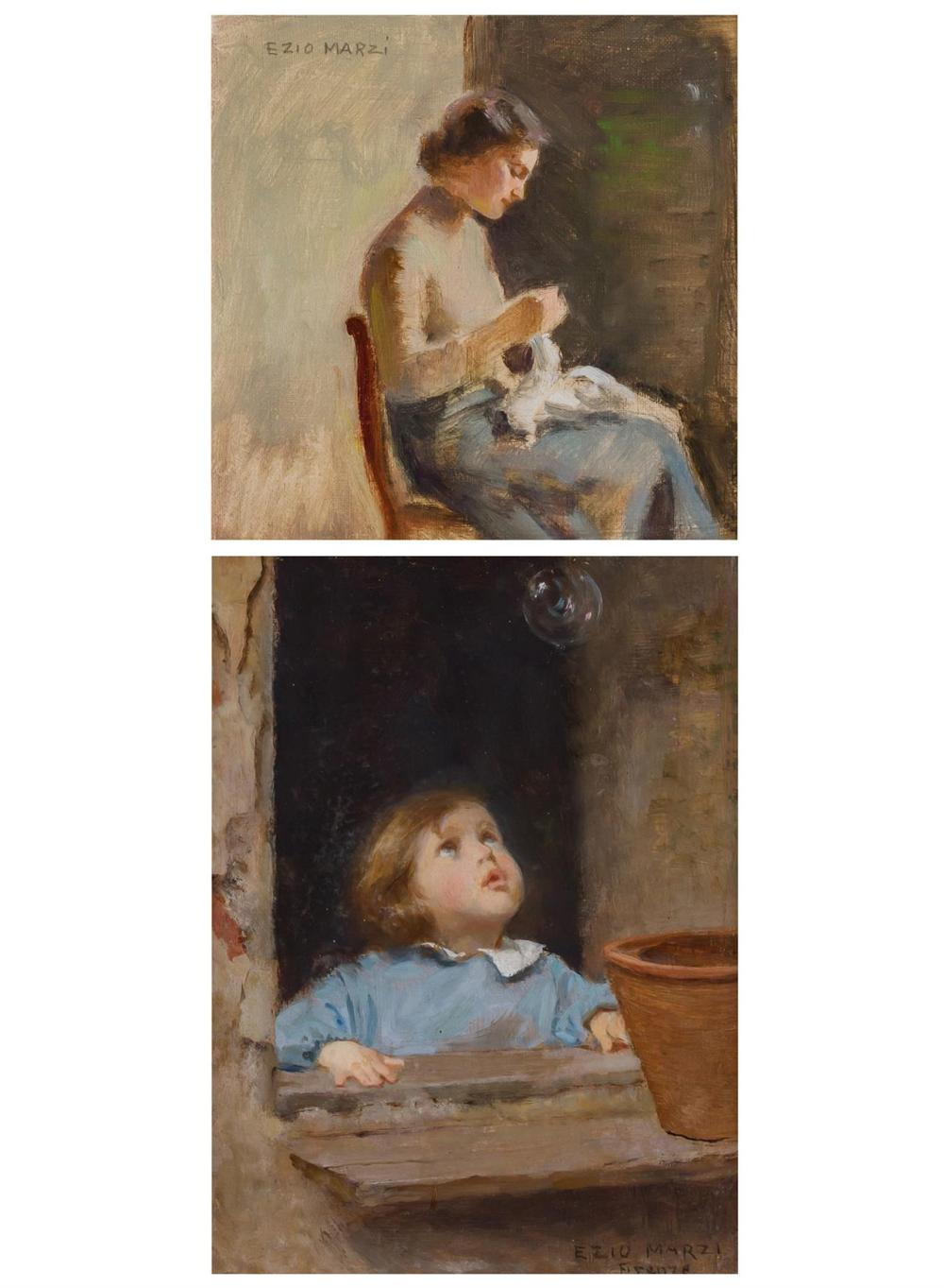 "EZIO MARZI, Italian (1875-1955), Woman Knitting Blowing Bubbles (A Pair), (a) oil on canvas board, signed upper left ""Ezio Marzi,"" (..."