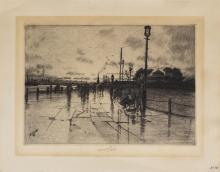 """CHARLES FREDERICK WILLIAM MIELATZ, German (1864-1919), The Esplanade, etching on paper, signed and dated in plate """"Mielatz '89"""" lowe.."""