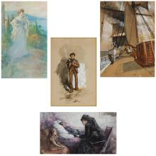 WILLIAM ST. JOHN HARPER, American (1851-1910), Lady in White Ship Interior Family Mourning Young Man (Group of Four), (a) pastel on...
