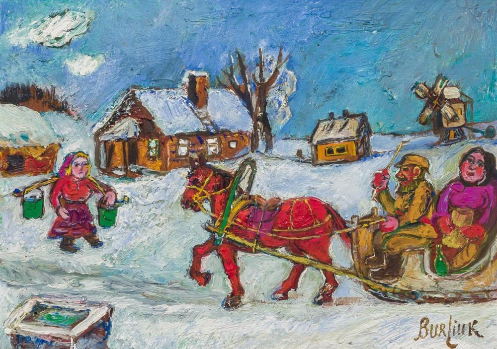 "DAVID BURLIUK, American/Russian (1882-1967), Wife of Priest (Snow Scene), oil on board, signed lower right ""Burliuk"", 10 x 14 inches"