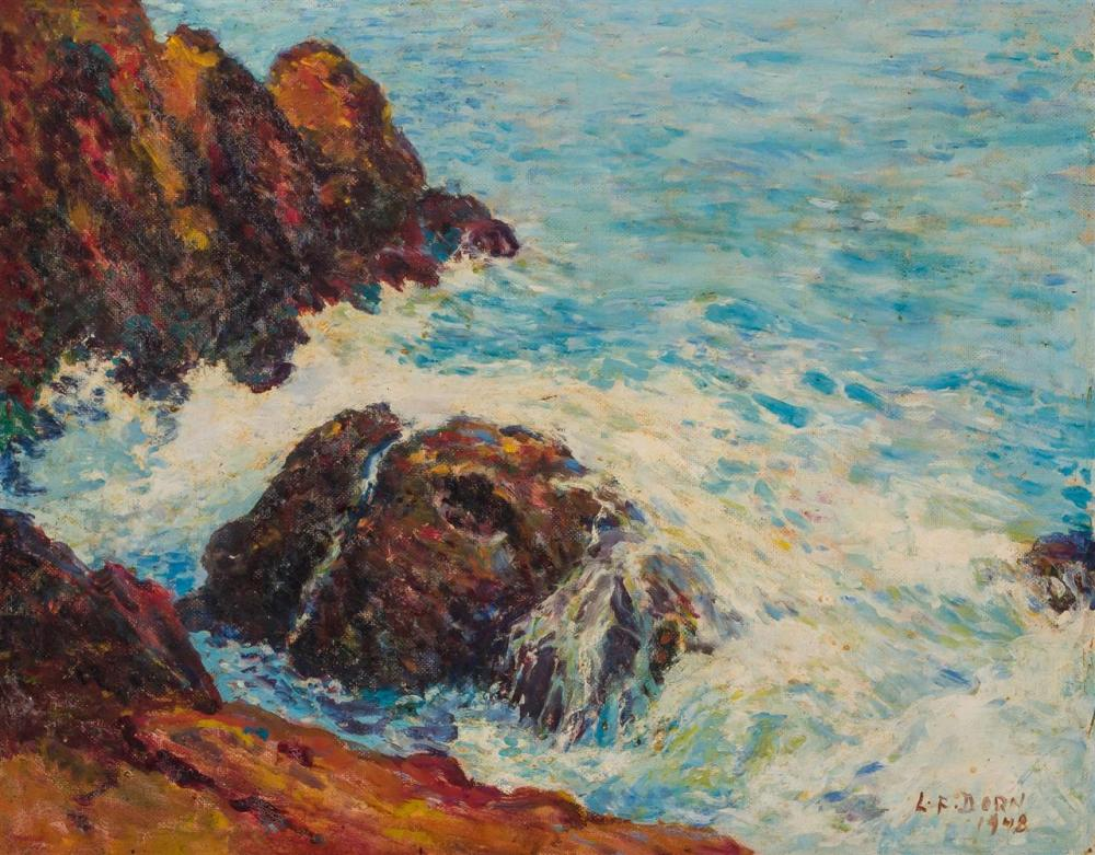 "LEO DORN, American (1879-1964), Coastal Scene, oil on masonite, signed and dated ""L.F. Dorn 1948"" lower right, inscribed on reverse..."