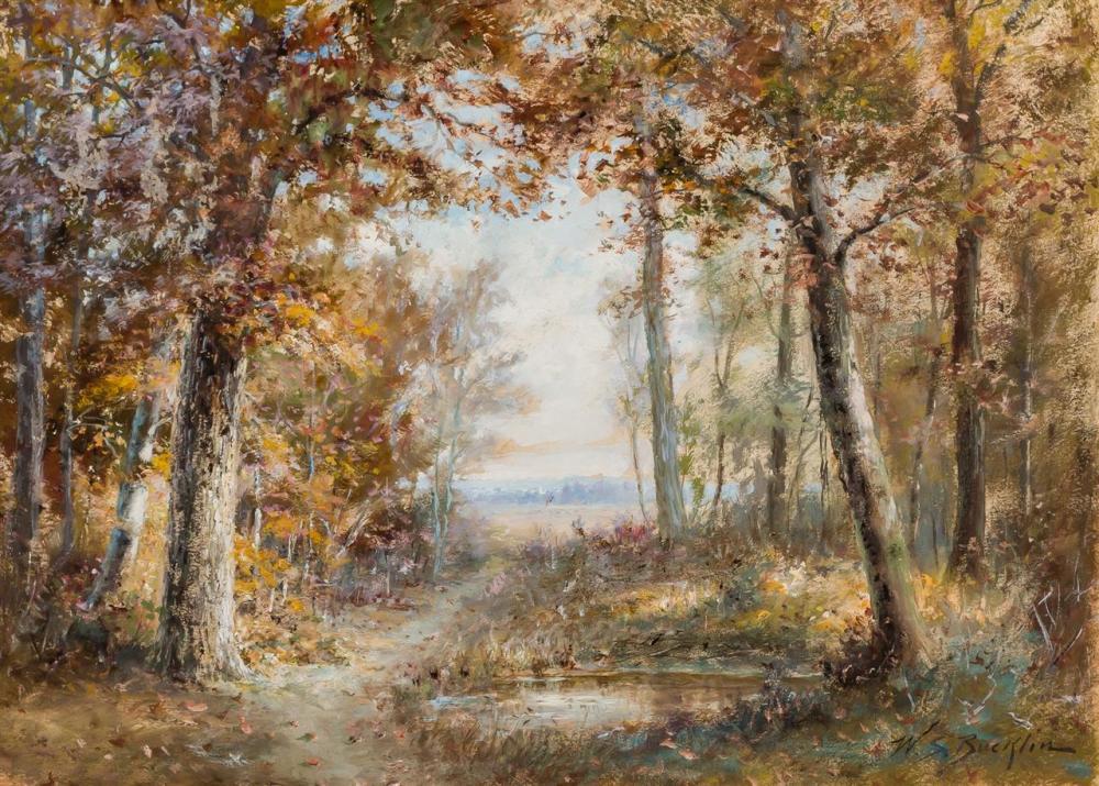 "WILLIAM BUCKLIN, British (1851-1928), Autumn Sunshine through Forest, oil on board, signed ""W.S. Bucklin"" lower right, 24 x 30 inche..."
