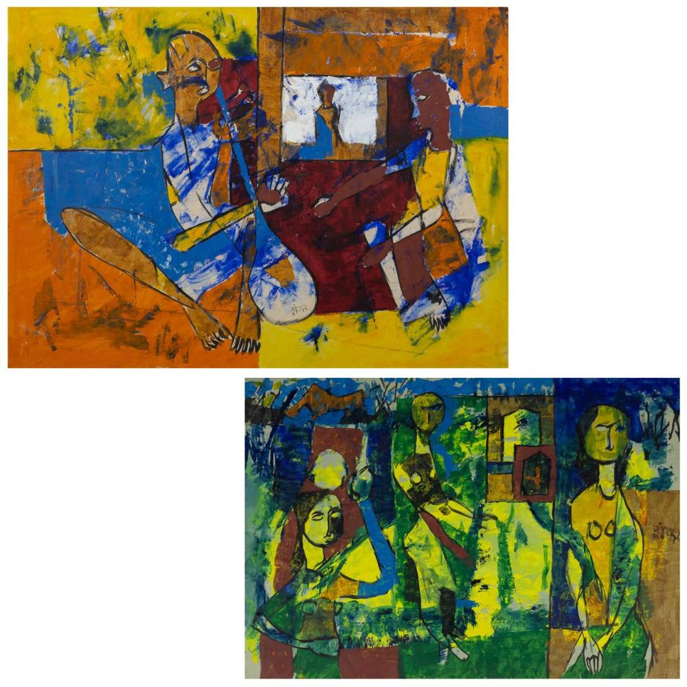 "SHANKAR KARKAR, Indian (20th Century), ""Favourite Taun"" Untitled (A Pair), acrylic on board, (a) signed ""Shankar P Karkar"" and title..."