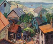 """JOHN R. GRABACH, American (1886-1981), View Above the Rooftops, oil on canvas, signed """"John R. Grabach"""" lower left., 24 3/4 x 30 inc..."""