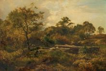 """SIDNEY RICHARD PERCY, British (1821-1886), """"Grazing"""", oil on canvas, signed and dated """"Percy, 1853"""" lower left., 14 3/4 x 21 inches"""