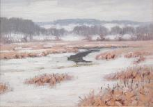 """GEORGE THOMPSON, American (1868-1938), River in Winter, oil on board, signed and dated """"Geo. Thompson 20"""" lower left., 10 x 14 inche..."""