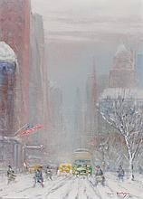 JOHANN BERTHELSEN, American (1883-1972), 5th Avenue, oil on canvas, signed lower right., 16 x 12 inches