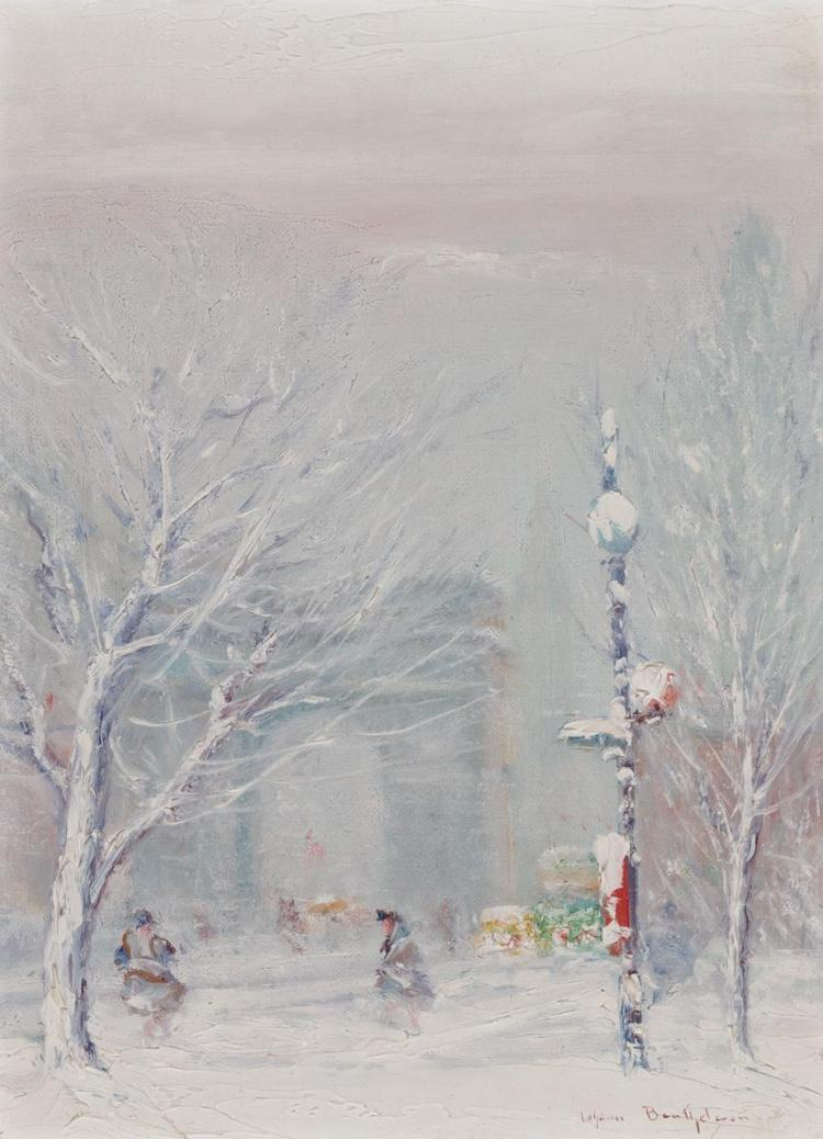 JOHANN BERTHELSEN, American (1883-1972), Washington Square, oil on board, signed lower right., 12 x 9 inches