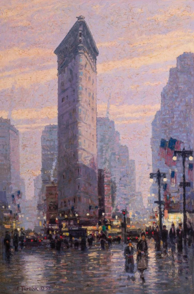 JOHN C. TERELAK, American (b. 1942), Flatiron Building, oil on canvas, signed and inscribed