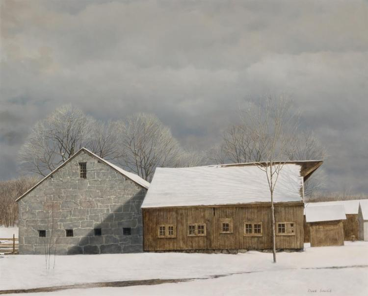 DOUGLAS BREGA, American (b. 1948), Storm at Greystone, oil on masonite, signed lower right., 24 1/4 x 29 7/8 inches