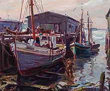 EMILE ALBERT GRUPPE, American (1896-1978), Gloucester Dock Workers, oil on canvas, signed lower right., 19 5/8 x 23 3/4 inches