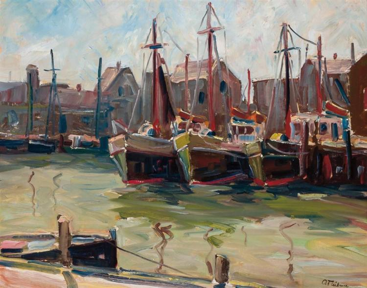 ANTHONY THIEME, American (1888-1954), Gloucester Harbor, oil on artist board, signed lower right., 16 x 20 inches