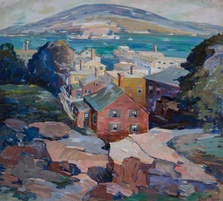 PETER BELA MAYER, Hungarian / American (1887-1993), Village by the Coast, oil on canvas, signed lower right, in a Heydenryk frame.,...