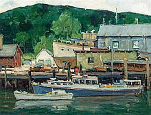 WALTER FARNDON, American (1876 - 1964), Boothbay Harbor, oil on board, signed lower right., 14 x 18 inches