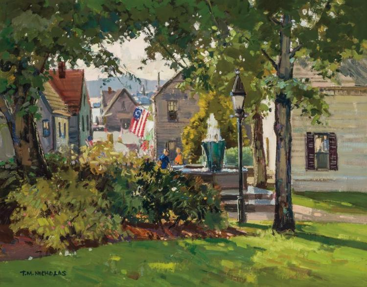 T. M. NICHOLAS, American (b. 1963), Trinity Church, Newport, Rhode Island - Looking West, oil on canvas, signed lower left., 16 x 20...