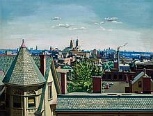 VINCENT JANNELLI, American (1882-1962), New York Skyline from Newark, oil on canvas, signed and dated