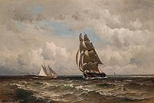 MAURITZ FREDERICK H. DE HAAS, American (1832-1895), Brigantine, Schooner and Steamship at Sea, oil on canvas, signed lower left., 16...