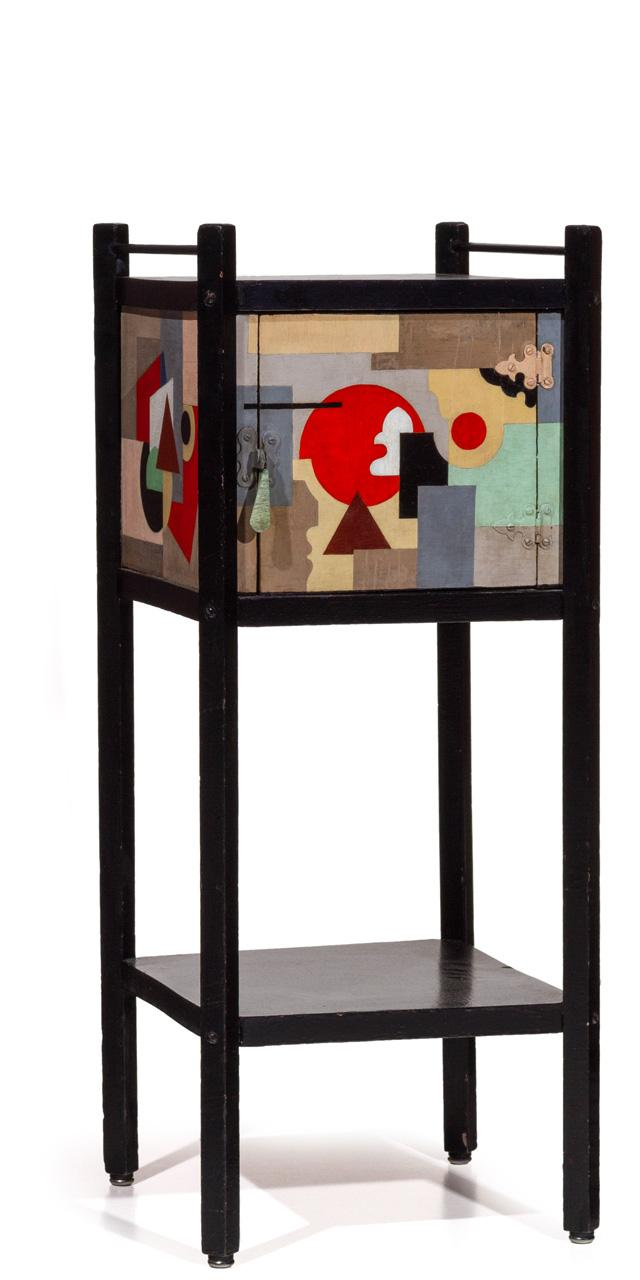 PAUL KELPE, American (1902-1985), A Unique Pipe Cabinet, hand-painted wood, lacquered wood, enameled steel., 28 3/4