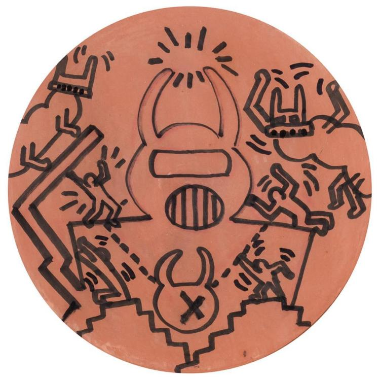 KEITH HARING, American (1958-1990), Untitled, terra cotta with marker, signed, dated