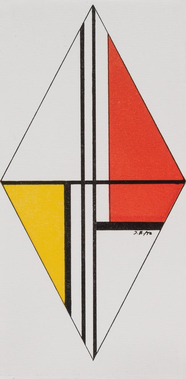 ILYA BOLOTOWSKY, American/Russian (1907-1981), Yellow and Red Diamond, acrylic and graphite on paper, initialed center right., 7 3/8...