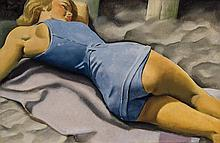 LUCIAN BERNHARD, American (1883-1972), Nap at the Beach, oil on board, unsigned., 13 1/4 x 19 1/4 inches