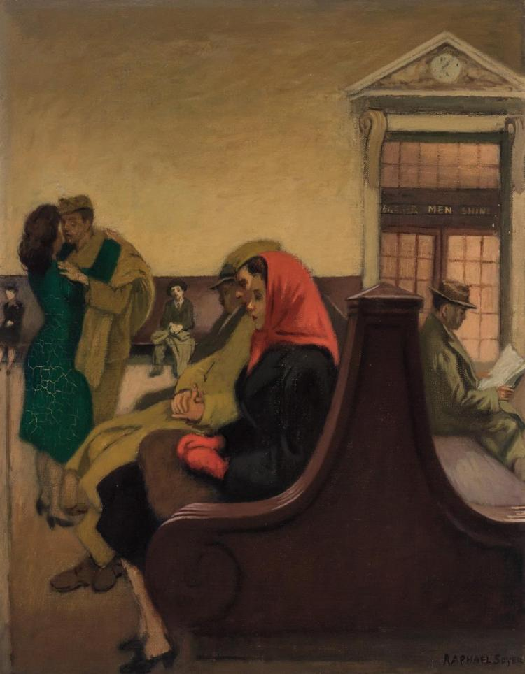 RAPHAEL SOYER, American (1899-1987), Waiting at the Station, oil on canvas, signed lower right., 18 x 14 inches