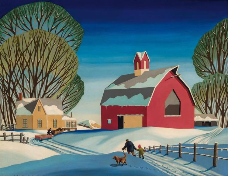 DALE NICHOLS, American (1904-1995), Sunset on the Farm, oil on canvas, signed lower left., 24 x 30 inches