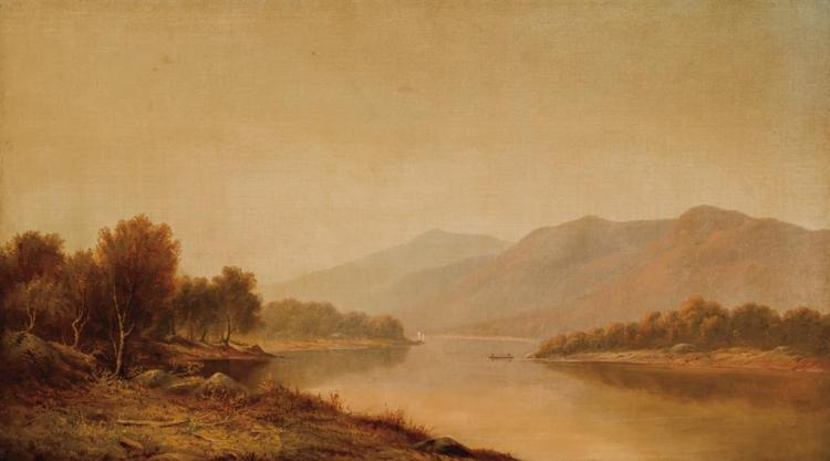 CHARLES WILSON KNAPP, American (1823-1900), River in Autumn, oil on canvas, signed lower left., 23 3/4 x 41 3/4 inches