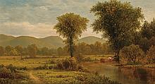 CHARLES WILSON KNAPP, American (1823-1900), Landscape with Cows Grazing, oil on canvas, signed lower left., 20 x 36 inches