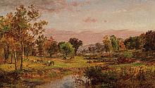 JASPER FRANCIS CROPSEY, American (1823-1900), Farm Along the River, oil on canvas, signed and dated